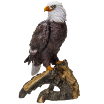 American Eald Eagle Perching on Tree Branch Resin Figurine Statue - $29.69