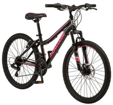 """24"""" Girl's Excursion Mountain Bike w/Front Suspension & Disc Brake, Pink Accents - $213.35"""