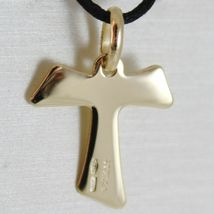 Flat yellow gold cross 750 18k pendant Franciscan tau,, san francesco, Italy image 4