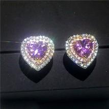 4.50Ct Heart Cut Pink Diamond Double Halo Stud Earrings In 14K White Gol... - $147.71