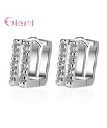 S925 Sterling Silver Simpe Luxury High Quality AAA Crystal Sqaure Hoop E... - $8.55