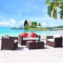 4 PC Wicker Rattan Furniture Set Sofa Cushioned Patio Lawn Loveseat Sect... - $409.99