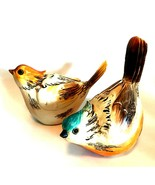 Bird Figurines Wood Look Pair Detailed Wild Birds Brown Orange Beige 5.5... - $43.56