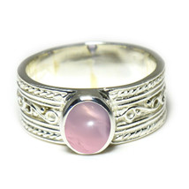 Natural Real Rose Quartz Gemstone Silver Ring For Your Love Oval Cut Siz... - £10.25 GBP