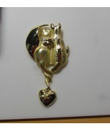 AJC Signed Gold-tone Cats Moon Heart Brooch/Pin - $18.80