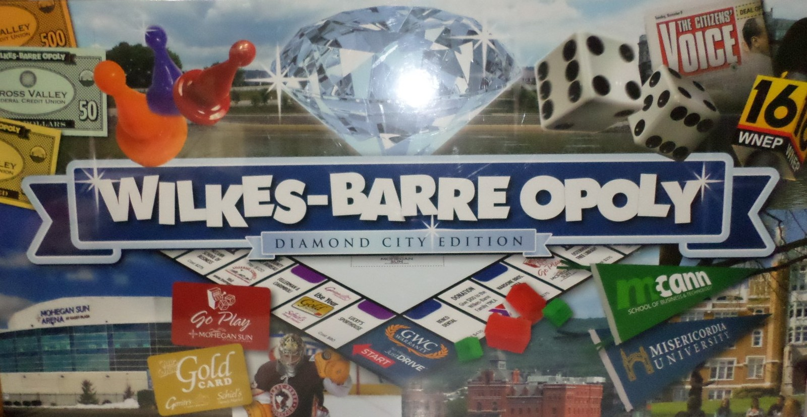 Wilkes-Barre Opoly Game Diamond City Pa personalized monopoly