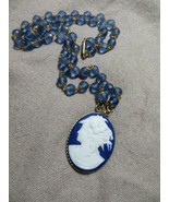 Antq. Victorian Beaded Blue Glass Gold Filled caps necklace w/Blue Glass... - $59.99