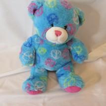 Build A Bear Vintage Old Style Blue Peace Bear Pastel Rainbow Hippie - $14.99