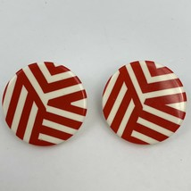 Vintage Red White Round Earrings Big Large Geometric Statement Hippie - $11.84
