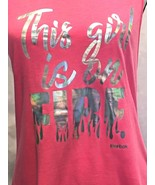 """REEBOK Speedwick """"This Girl is On Fire"""" Pink Silver Foil Keyhole Tank To... - $15.99"""