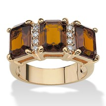 Birthstone and CZ 14k Gold-Plated Ring-November-Simulated Citrine - $33.94