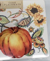 "SET OF 4 VINYL PLACEMATS W/ CORK BACK (12""x16"")HARVEST,PUMPKINS & SUNFLO... - $19.79"