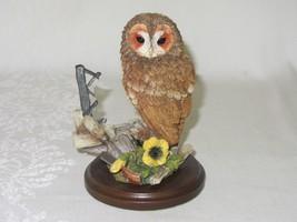 Country Artists Tawny Owl w Broken Window Resin Figurine Vtg 2000 by Lan... - $39.59
