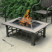 Brownish Bronze, Rectangular Tile Top Fire Pit Durable Rust-resistant Br... - $123.68