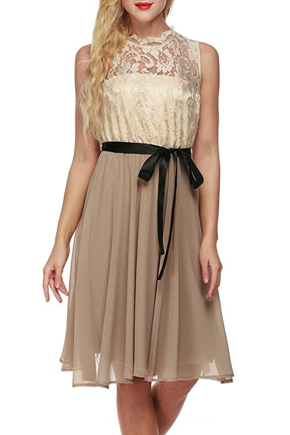 Simple Lace Chiffon Short Champagne Prom Dress Cheap 2017,Formal Dress Custom