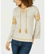$59.50 Style & Co Embroidered Peasant Sweater H Heather/ Ginger, Medium - $19.45