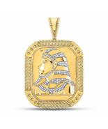 10kt Yellow Gold Mens Round Diamond Square Pharaoh Charm Pendant 1/2 Cttw - $1,484.41