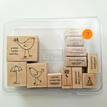 Stampin Up A Little Birdie Told Me Stamp Set EUC 12 Stamps - $11.74