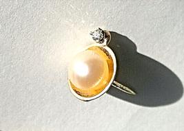 Cool VTG14K Diamond Tie TACK/LAPEL PIN(.04Ct)~WHITE PEARL(6.75mm) - $147.51