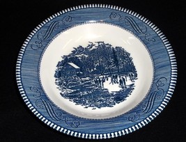 Royal China Blue 'Currier & Ives' Rim Soup Bowl - 'Early Winter' - $7.95