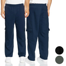 Mens Heavy Fleece Cotton Blend Casual Plain Athletic Gym Sport Cargo Sweatpants image 1