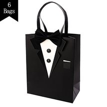 Crisky Classic Black Tuxedo Gift Bags for Groomsman Father's Birthday Anniversar image 12
