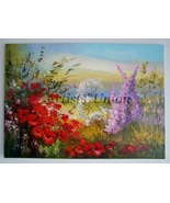 Meadow Red Poppies Impasto Original Oil Painting Impressionism Palette L... - $340.00