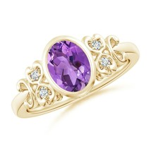 Vintage Style Bezel-Set 1.1ct Oval Amethyst Ring with Diamonds Gold/Plat... - $572.42+