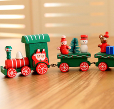 Christmas Train Painted wood with Santa/Bear Toys Ornament Christmas Dec... - $6.63