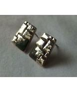 Sterling Silver Square Earrings, Black Accents, Unique Designs, Vintage,... - $15.00