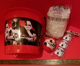 Star Wars Easter Basket Kit Red Plastic Tote White Grass Containers Stickers Egg - $18.04