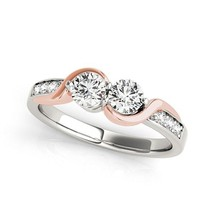 14k White And Rose Gold Round Two Diamond Curved Band Ring (5/8 cttw) - $1,148.07