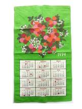 1974 Vintage Linen Calendar Kitchen Towel Cloth Tea Cloth Raspberries Green - $21.00