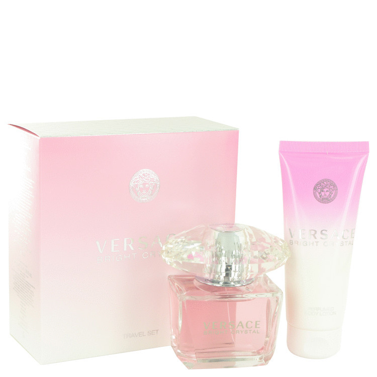 Versace Bright Crystal 3.0 Oz EDT Spray + 3.4 Oz Body Lotion 2 Pcs Gift Set