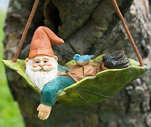 Twig & Flower Harley Happy Miniature Leaf Hammock Gnome with His Best Blue Bird