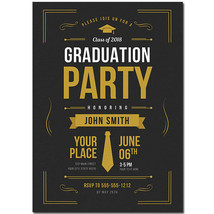 Black And Gold Graduation Invitation - $25.25
