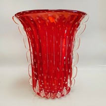 Stefano Toso Large Murano Art Glass Vase, Red with Bubbles and Gold Flecks - $1,187.99