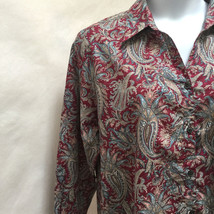 Charter Club 20W Top Red Blue Paisley Button Down Long Sleeve Cotton Shirt New - $24.48