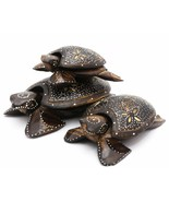 Hand-Painted Wood Sea Turtle Figurines with Floral Designs - Set or indi... - $11.39+