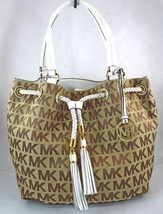 AUTHENTIC NEW NWT MICHAEL KORS $278 JET SET ITEM BROWN WHITE GATHERED TOTE - $1.883,86 MXN