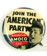 1950s Vintage Pin Button Pinback Join The American Party AMOCO GAS Oil C... - $18.87