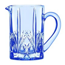 "WATERFORD MARQUIS ETCHED ""BROOKSIDE"" CRYSTAL BLUE PITCHER MADE IN GERMAN... - $149.75"
