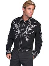 Men's Western Shirt Long Sleeve Rockabilly Country Cowboy Black White Rose - $87.38