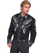 Men's Western Shirt Long Sleeve Rockabilly Country Cowboy Black White Rose - $87.79