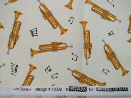1/2 yd Music/Trumpet horns instruments on ivory quilt fabric -free shipping image 2