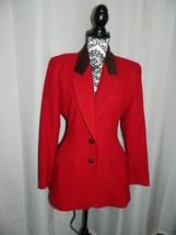 Size 4 Vintage Anne Klein ll Wool Blend w Suede Leather Collar Equestria... - $69.29
