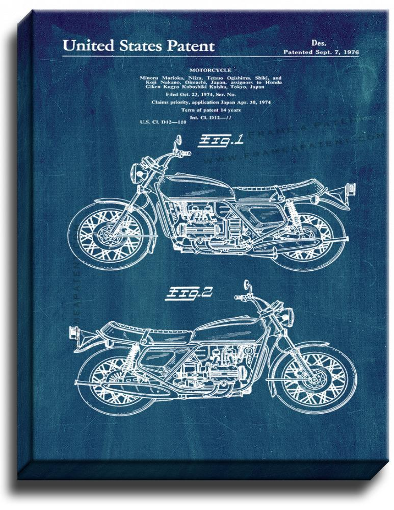 Primary image for Motorcycle Patent Print Midnight Blue on Canvas