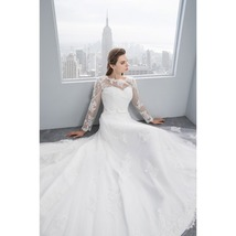 Scoop Illusion Applique V Back Long Sleeve Lace Up White Tulle Wedding Dress - $135.00