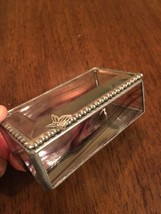 JEWELRY BOX Small Beveled Glass Lighted Butterfly Trinket Box Pinkish Hue - $17.77