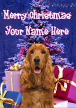 English Cocker Spaniel Dog Merry Christmas Personalised Greeting Card codeXM174 - $4.42